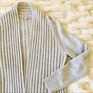GAP Ribbed Long Open Front Cardigan Sweater Gray